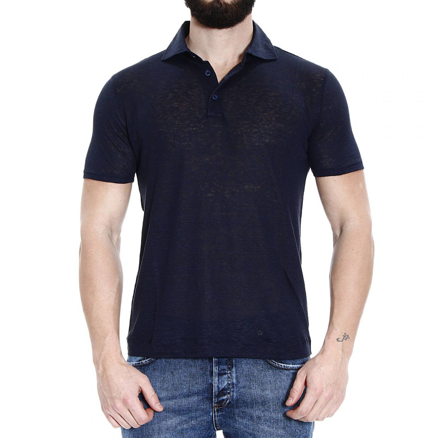 Cruciani t shirt polo half sleeve linen in blue for men lyst for Full sleeve polo t shirts