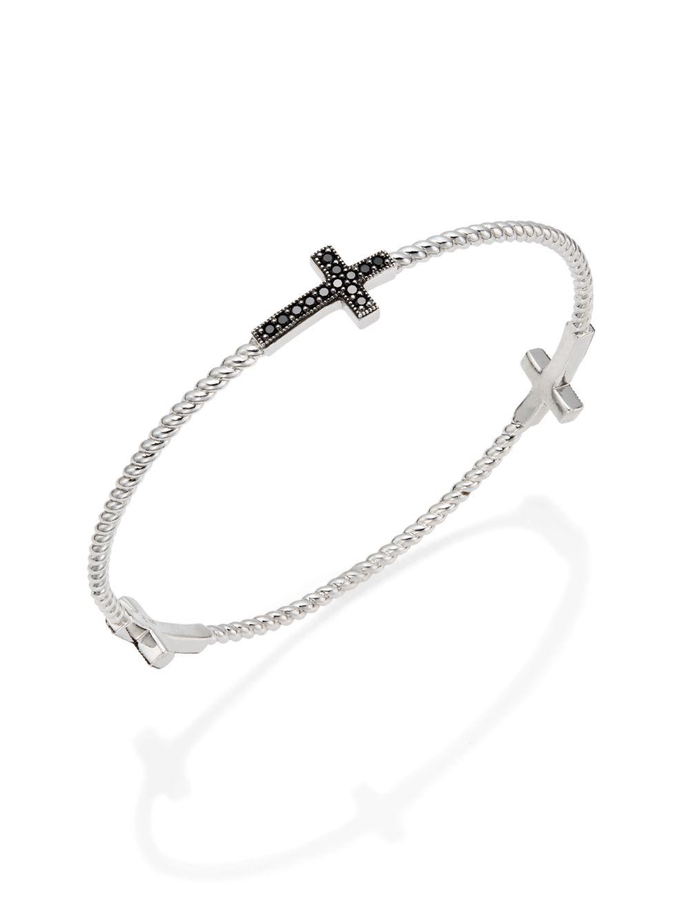 jude frances black spinel sterling silver cross bracelet