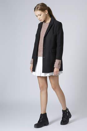 Topshop Petite Slim Pocket Coat in Black | Lyst