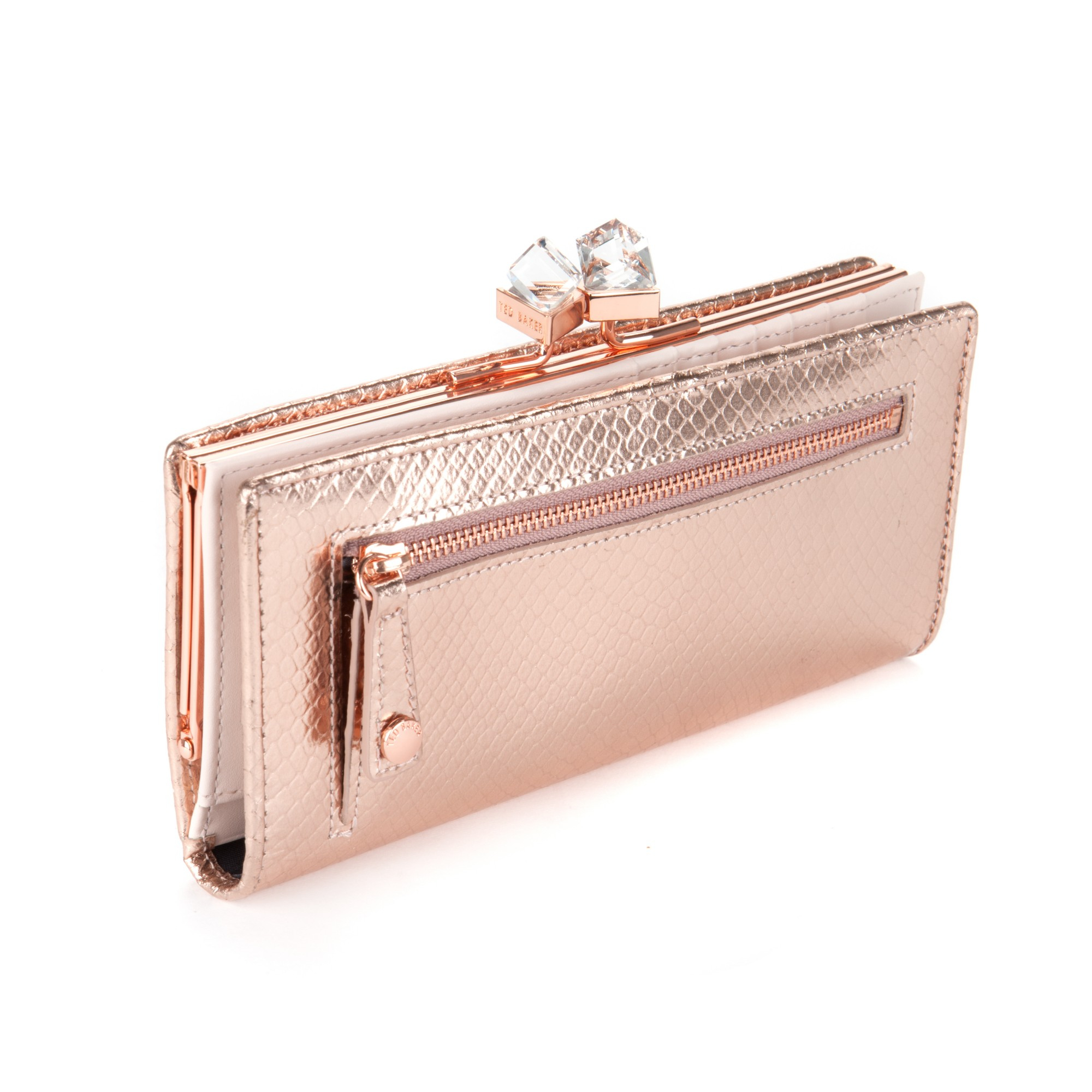 5d55b5011ef83c Ted Baker Annge Square Matinee Purse In Pink Lyst. Ted Baker Women S Alix  Pearl Bobble Small Leather Purse Rose Gold