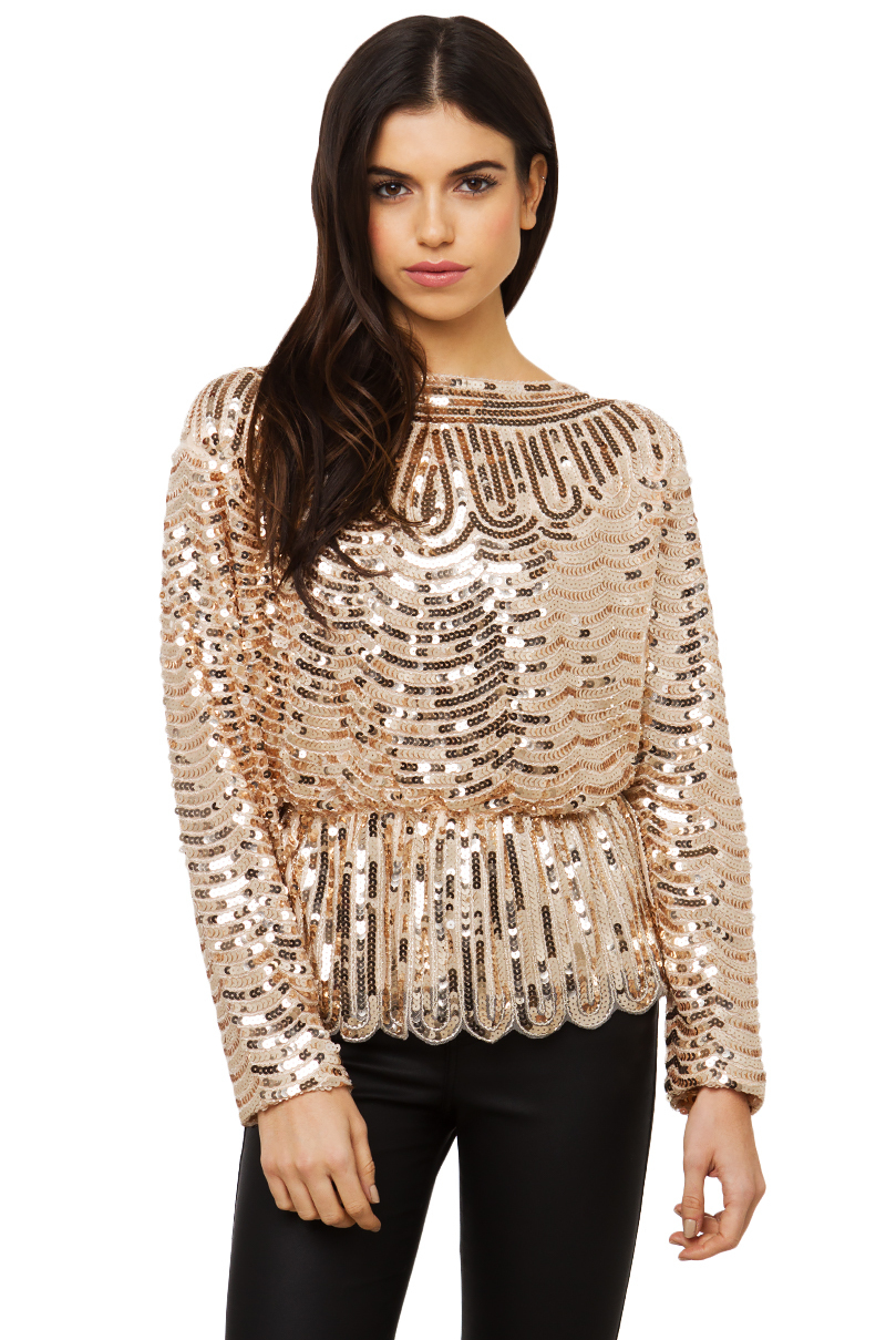 1ac16a21e38e Akira Black Label Sequin Scallop Long Sleeve Top in Pink - Lyst