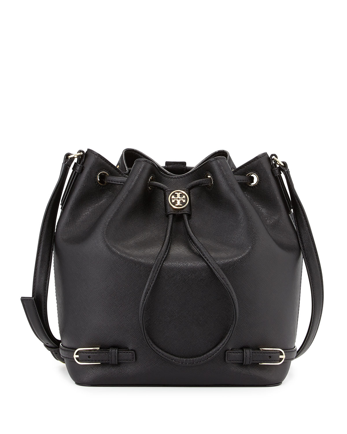 177a37e36e2 Lyst - Tory Burch Robinson Leather Bucket Bag in Black