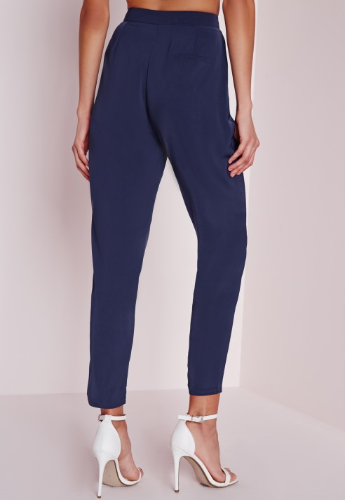 These pants feature a cigarette style, front clasp and zip and baby blue hue.