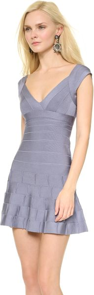 Hervé Léger Mirah Dress with Detailed Hem in Purple (Chambray) - Lyst