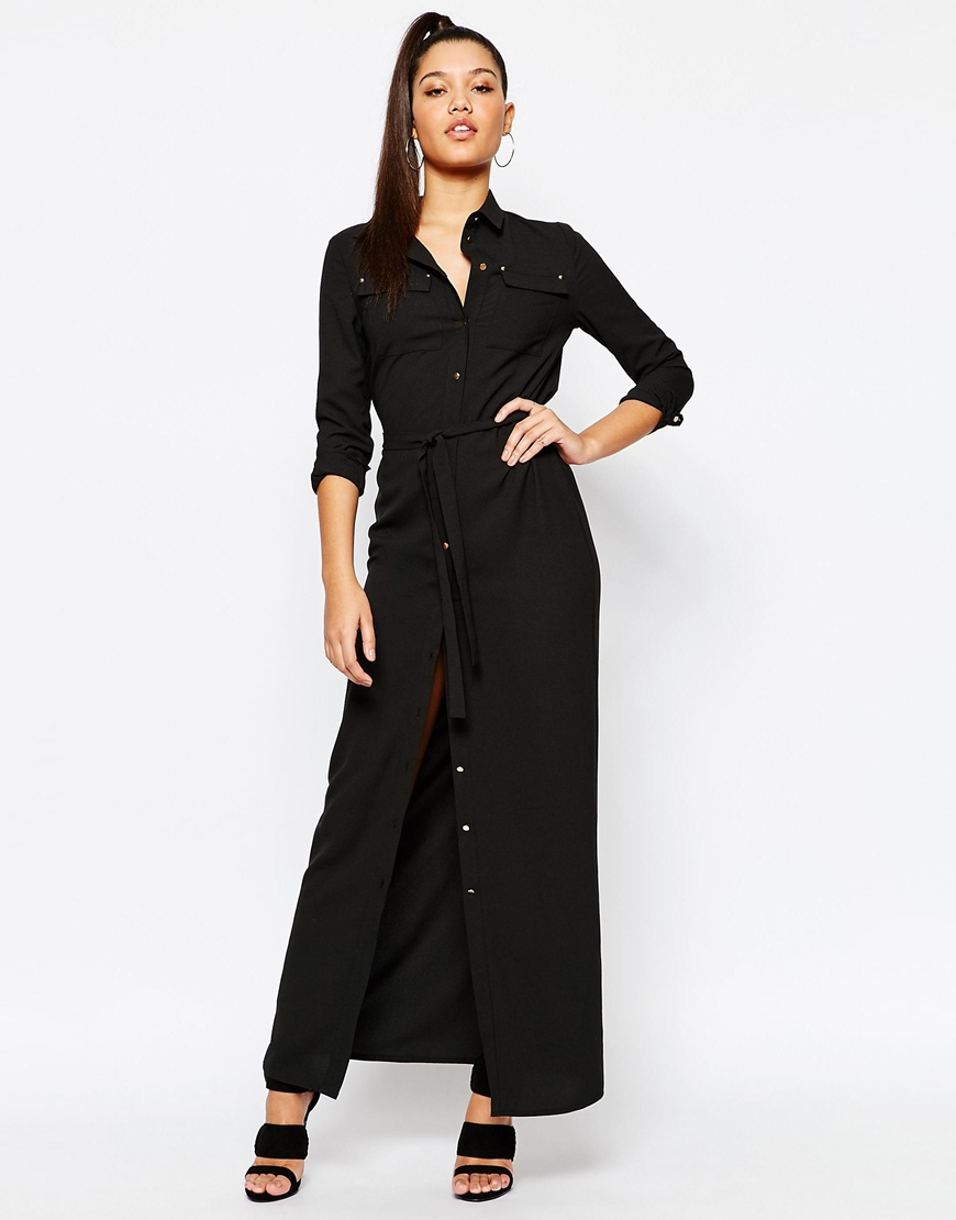 Missguided Belted Maxi Shirt Dress - Black in Black | Lyst