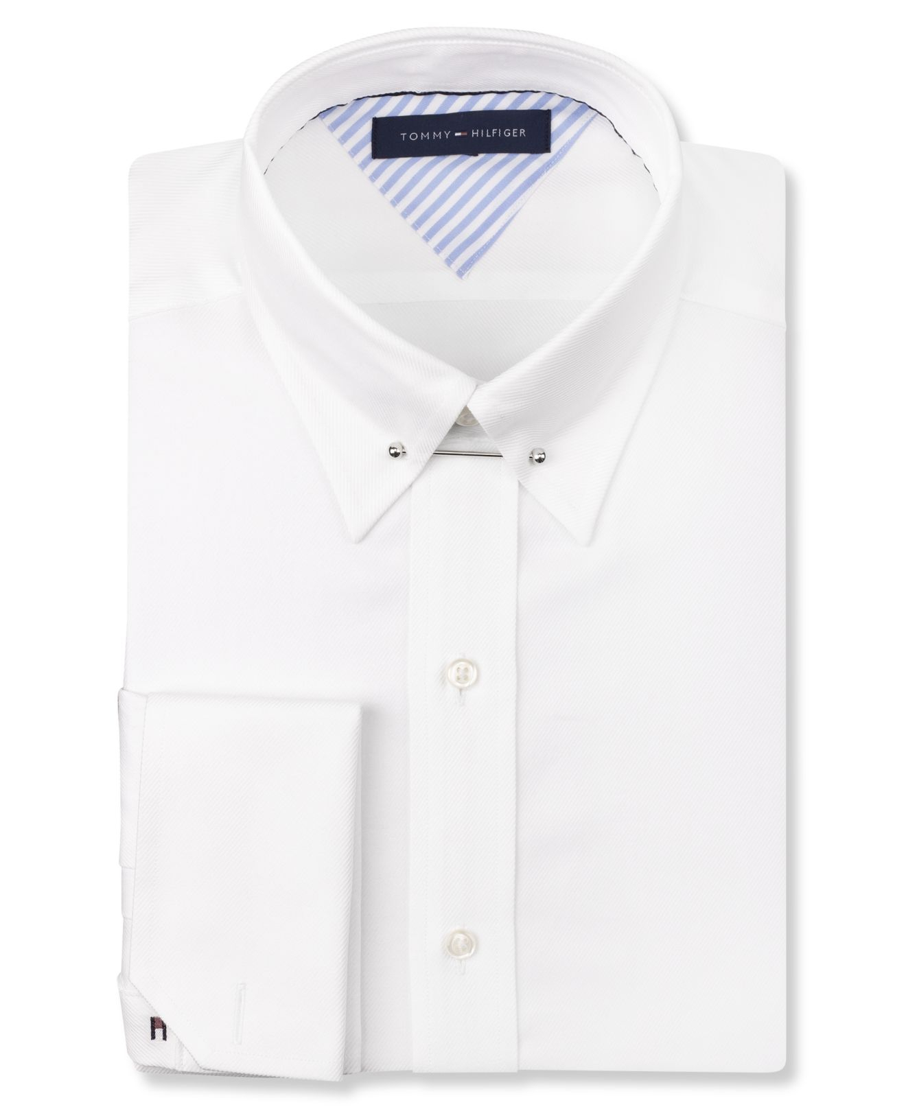 tommy hilfiger white french cuff dress shirt with collar