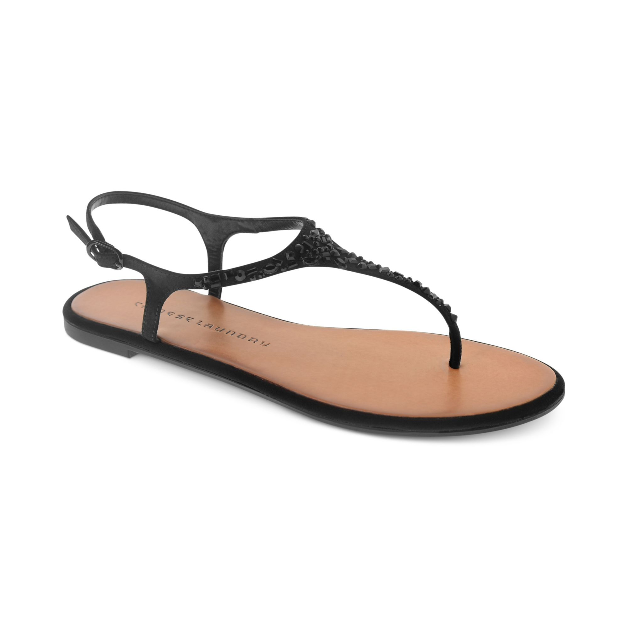 Lyst - Chinese Laundry Glisten Flat Thong Sandals in Black