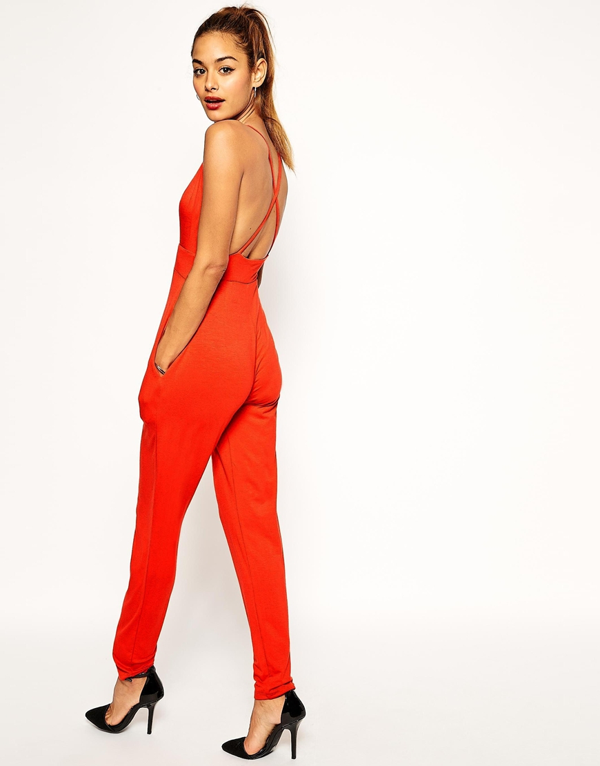 Asos Jumpsuit With Barely There Plunge Detail in Red | Lyst