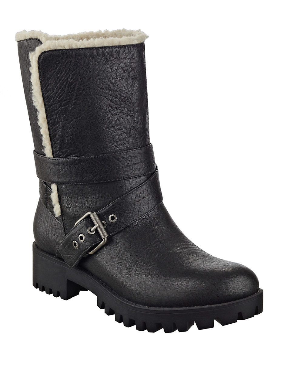 Nine West Olywn Sherpa Lined Boots In Black Lyst