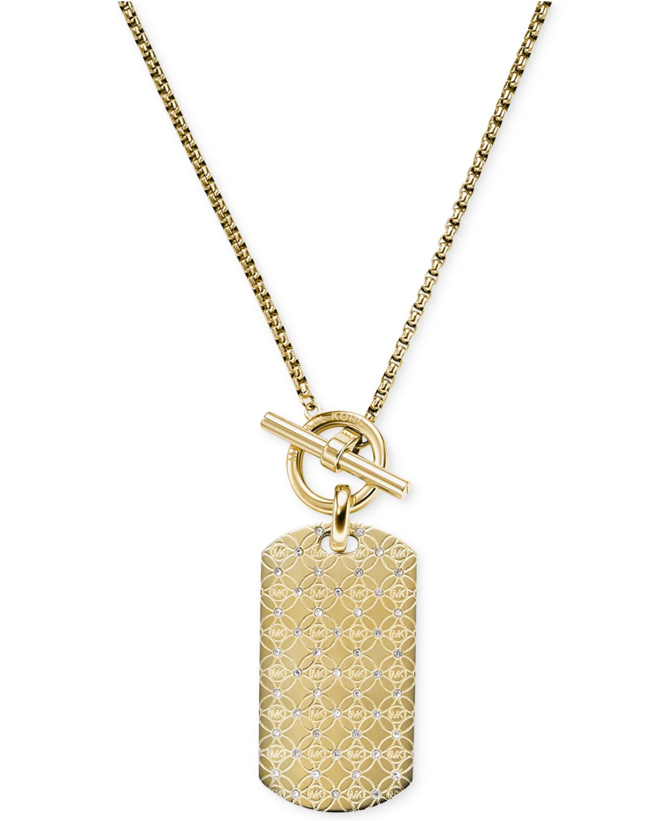 Lyst michael kors logo dog tag pendant necklace in metallic gallery aloadofball Choice Image