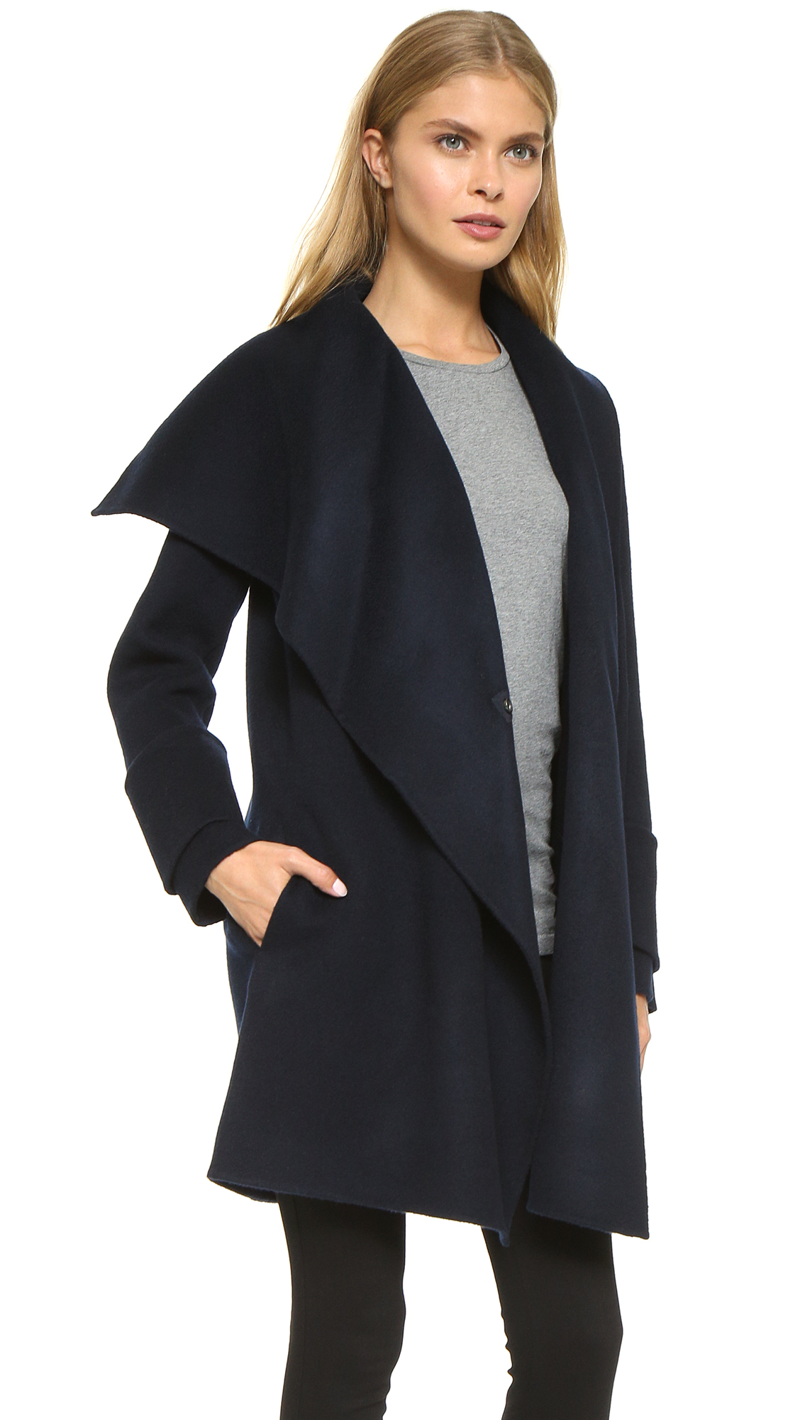 drape blanc jacket dp front drapes noir blar coat vince revolve hooded black in