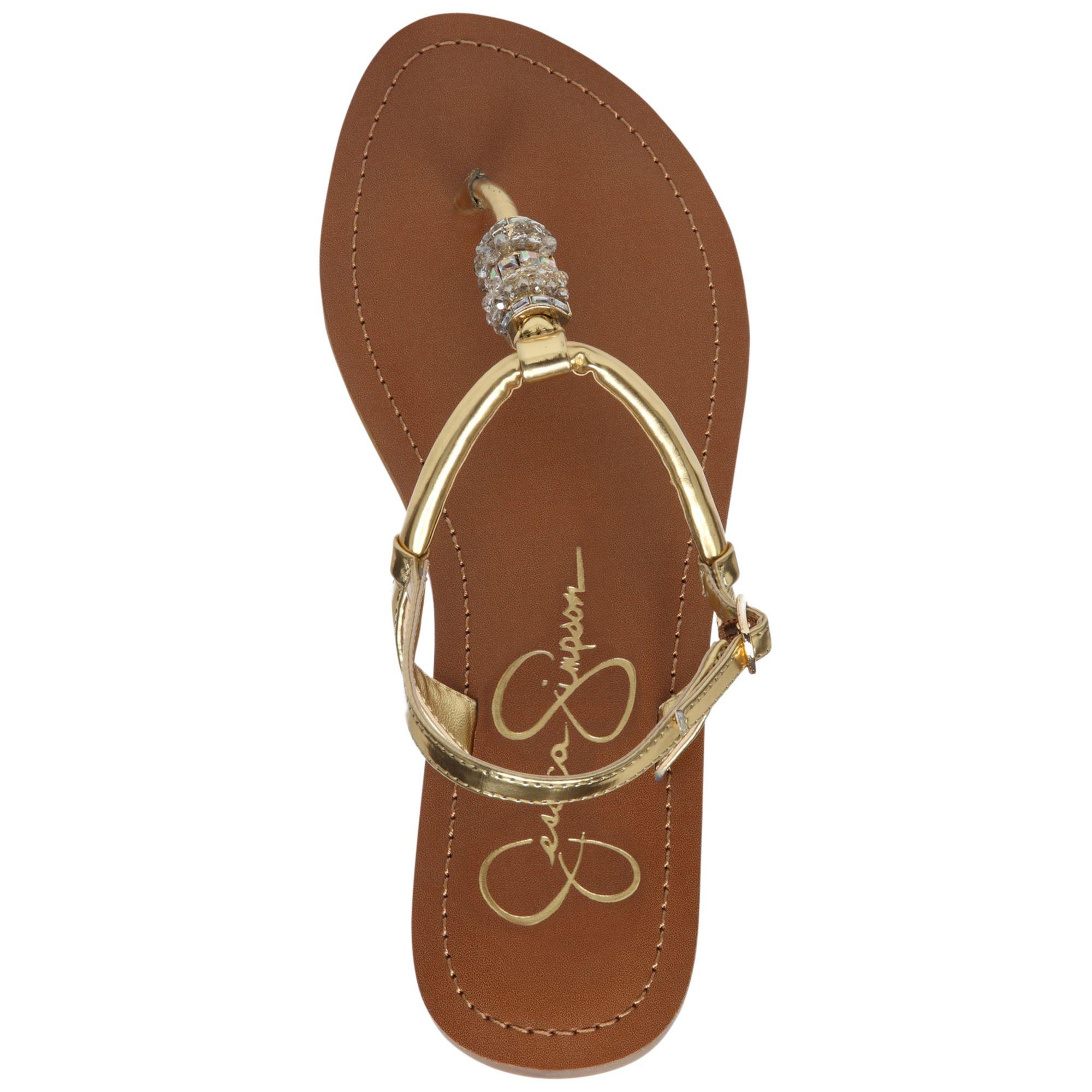 Lyst Jessica Simpson Regattah Flat Thong Sandals In Metallic