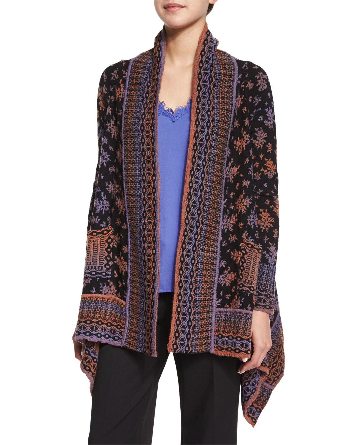 Nanette lepore Long-sleeve Printed Cardigan in Purple | Lyst