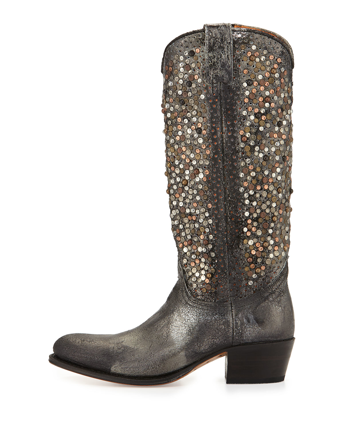 Lyst Frye Deborah Studded Vintage Leather Boot In Brown