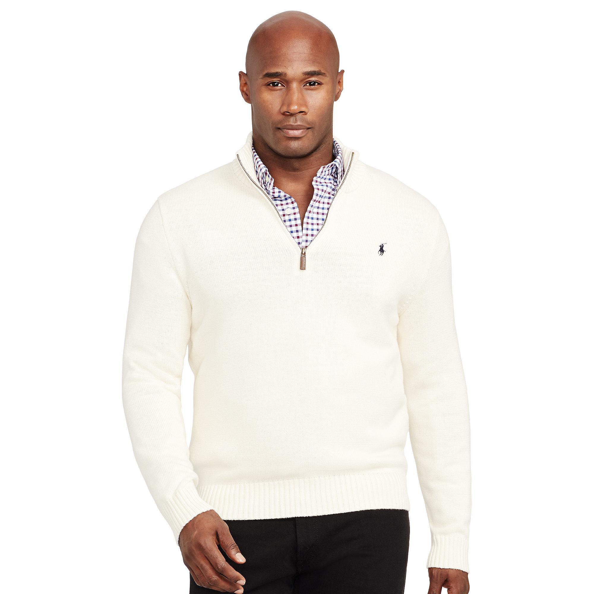 Ralph lauren Cotton Half-zip Sweater in White for Men | Lyst