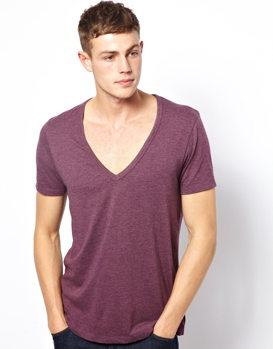 Asos Tshirt With Deep V Neck In Purple For Men Lyst