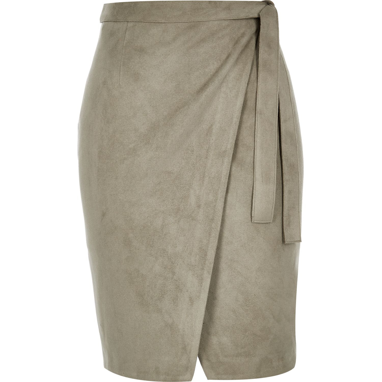 River island Khaki Green Faux Suede Wrap Skirt in Natural | Lyst