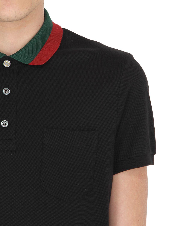 ac19ea916 Gucci Web Collar Stretch Cotton Piqué Polo in Black for Men - Lyst