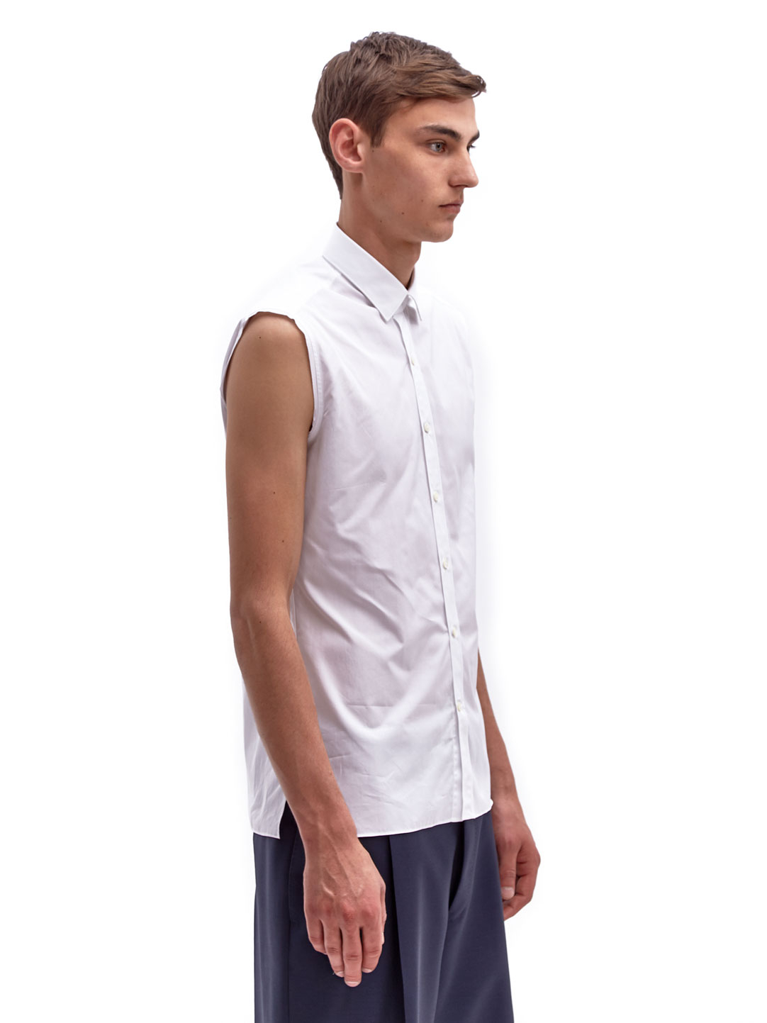 Lyst lanvin mens sleeveless raw edge cotton shirt in for Cotton dress shirts for men