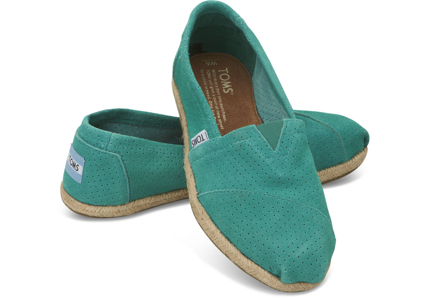 ed273c83262 Lyst - TOMS Perforated Suede Womens Classics in Green