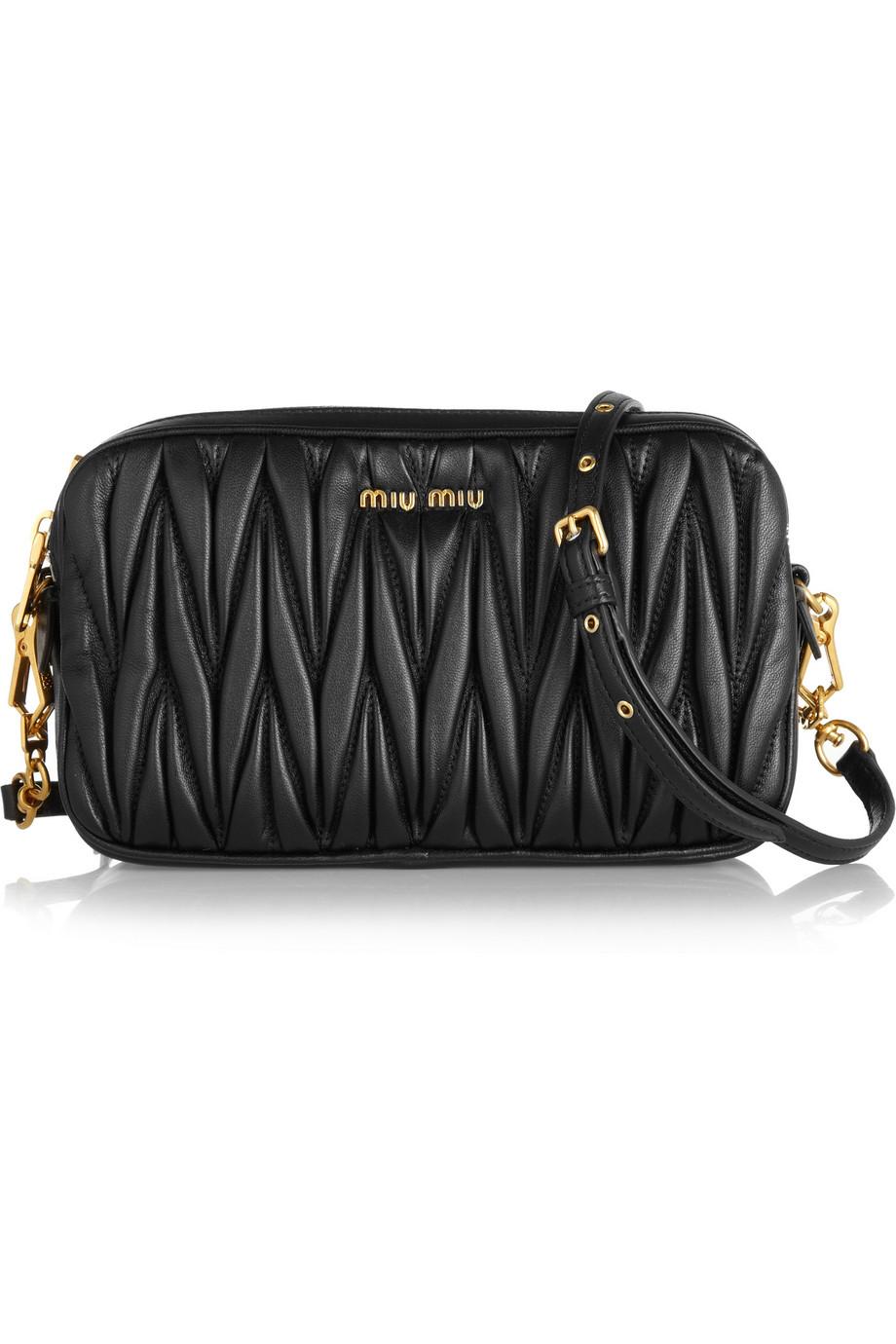 Lyst - Miu Miu Matelassé Leather Shoulder Bag in Black b0a011b3fd