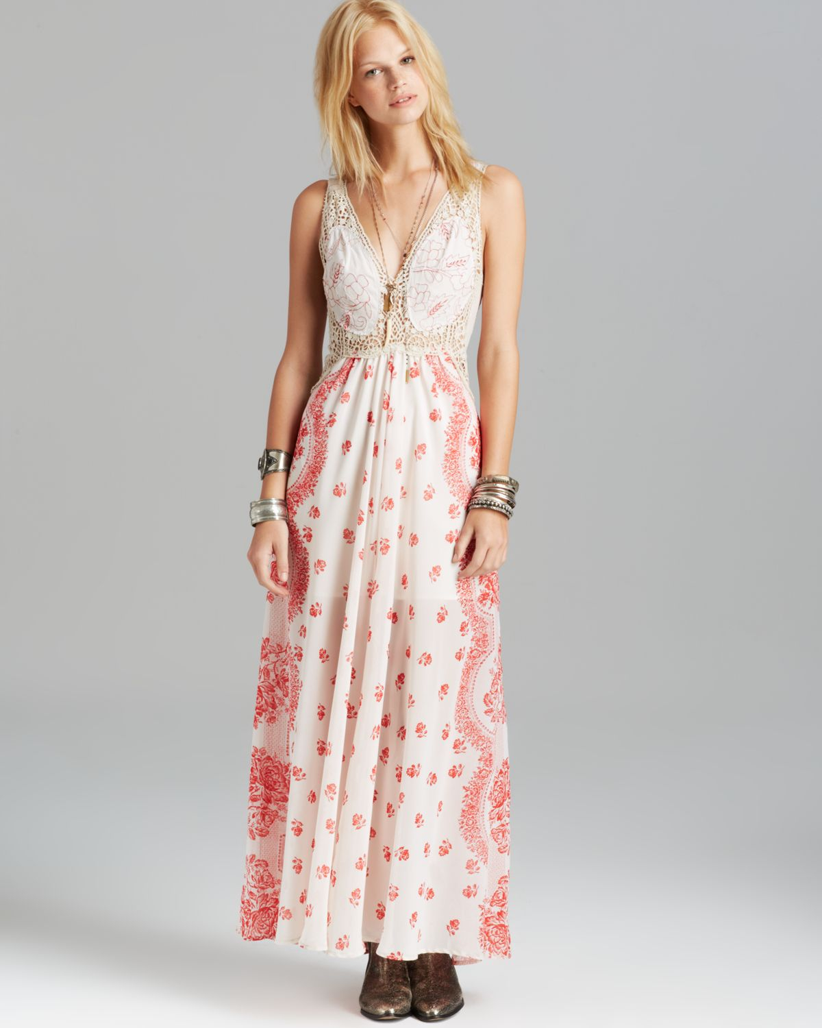 70c7506260d Free People Maxi Dress Victorian Love in Natural - Lyst