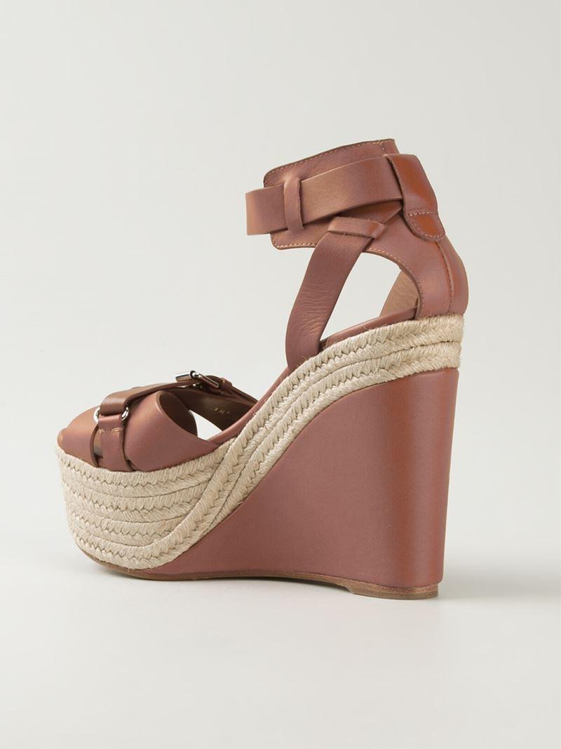 Lyst Ralph Lauren Wedge Sandals In Brown