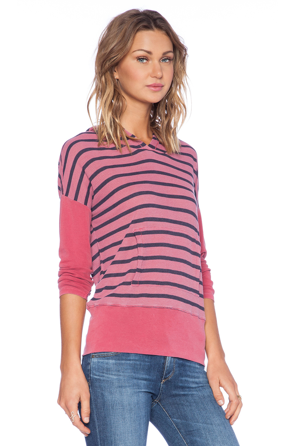 7e375a70a9b Lyst - Stateside Stripe Thermal Hoodie Tee in Pink