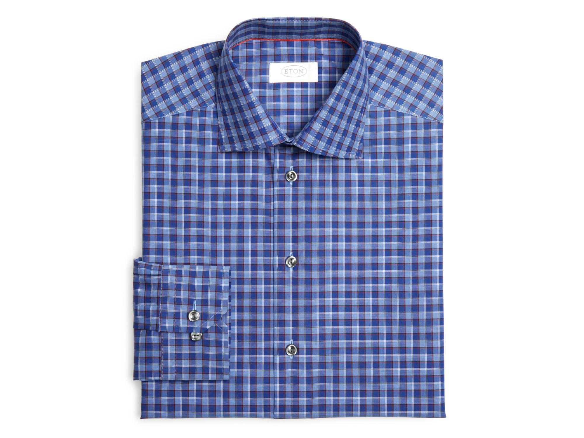 Lyst eton of sweden plaid regular fit dress shirt in blue for Regular fit dress shirt