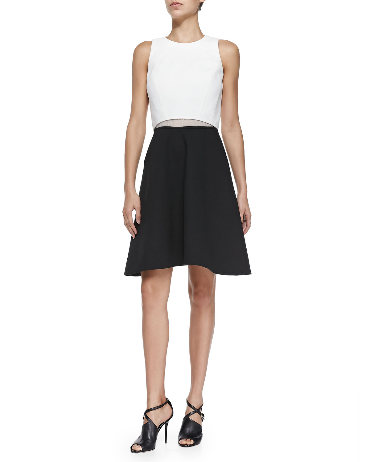 10 crosby derek lam two tone a line poplin dress in black for Derek lam 10 crosby shirt dress