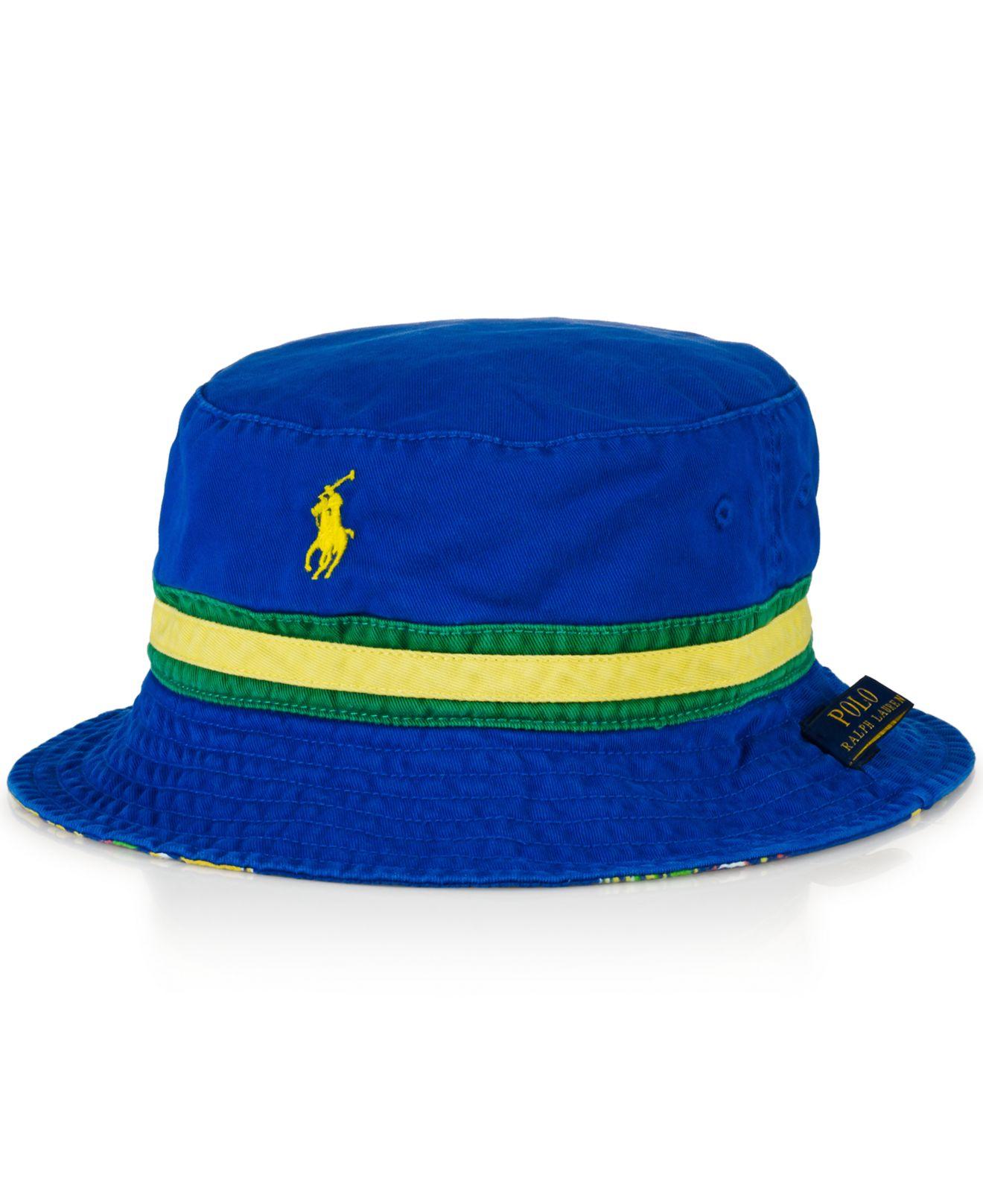 Lyst - Polo Ralph Lauren Reversible Bucket Hat in Blue for Men c56556087df