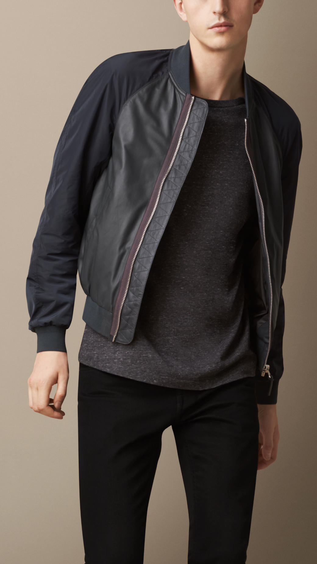 Burberry Nappa Leather Bomber Jacket with Contrast Sleeves in Gray ...