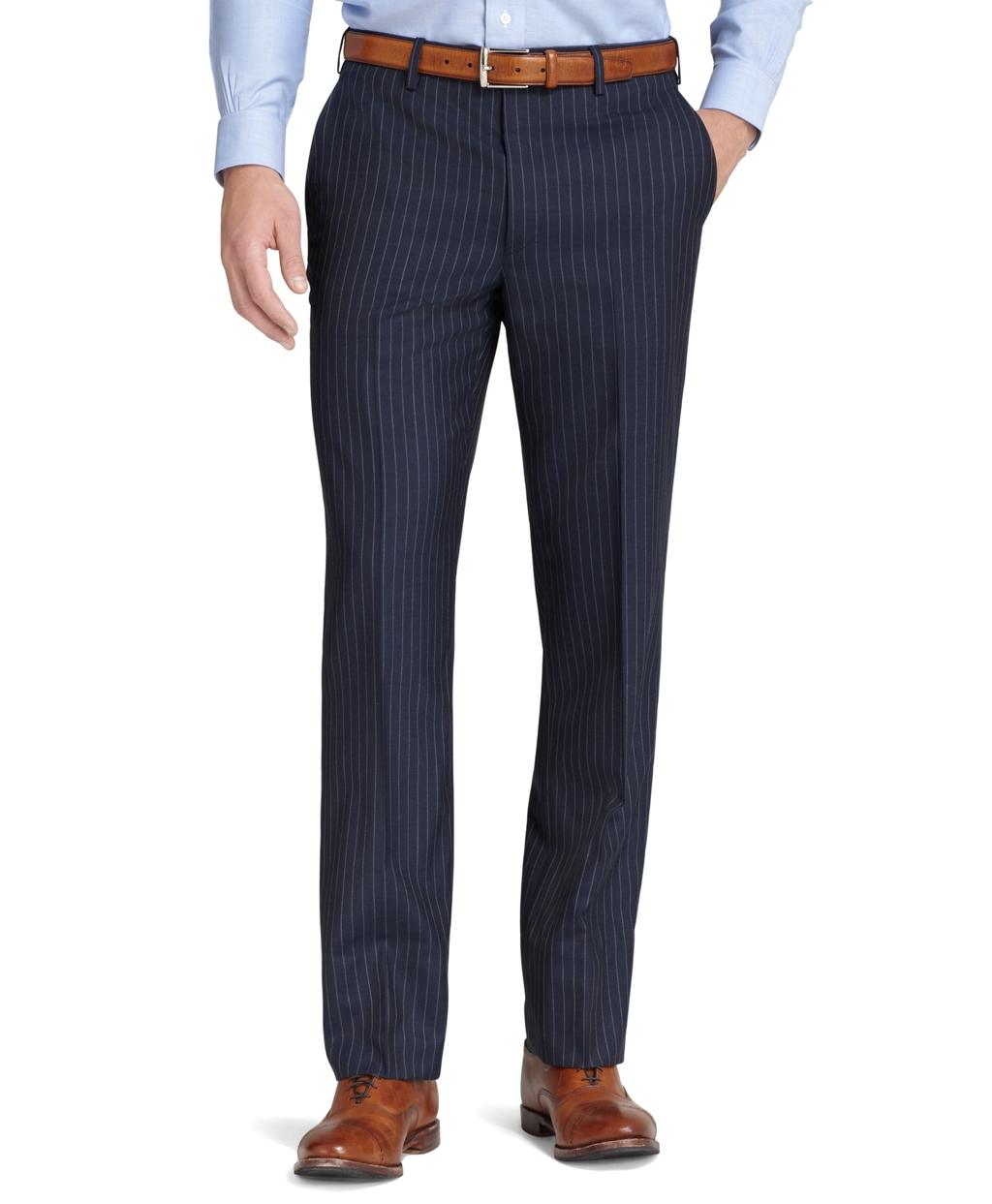 brooks brothers fitzgerald plain chalk stripe suit in blue for men lyst. Black Bedroom Furniture Sets. Home Design Ideas