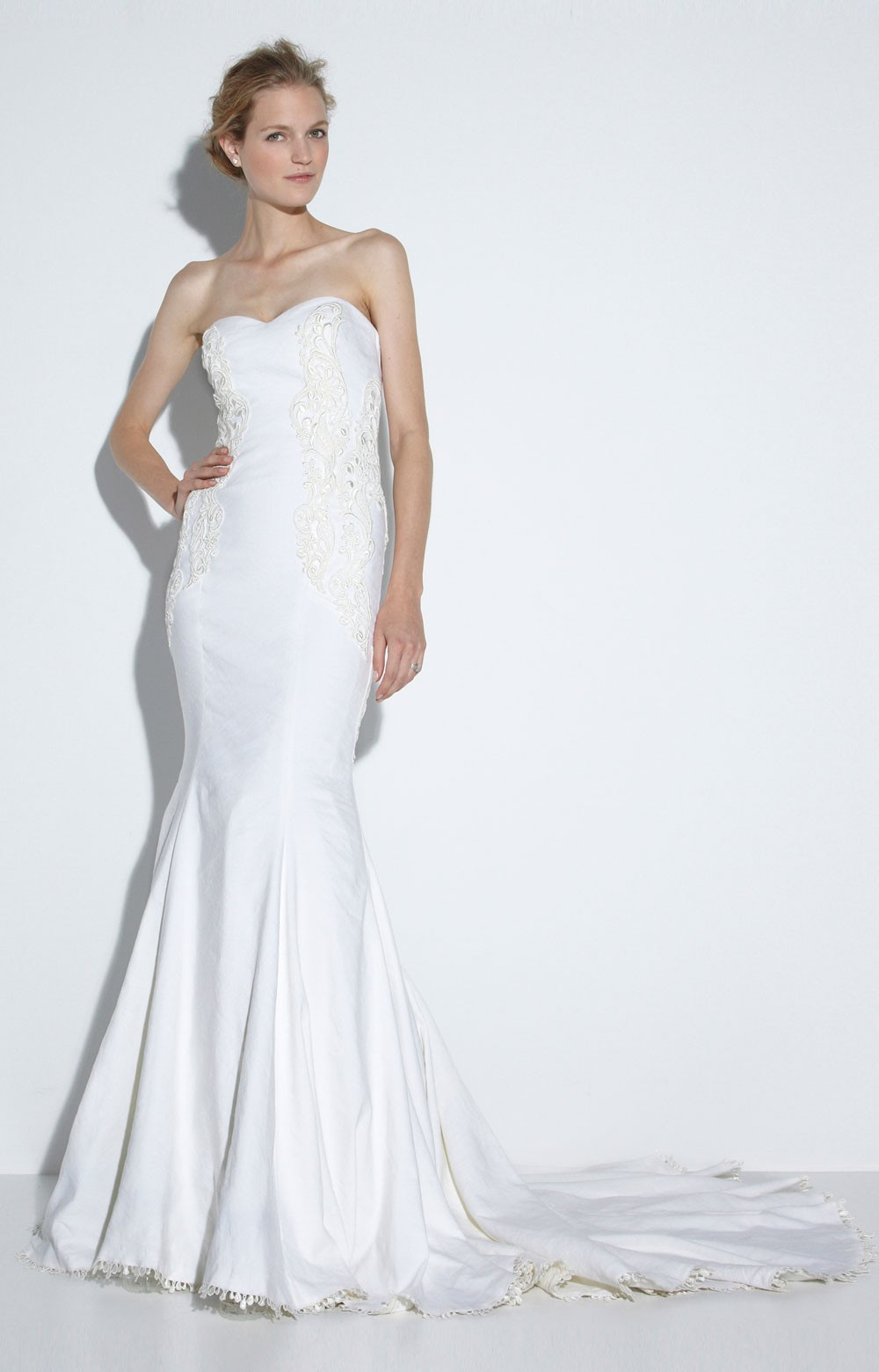 Nicole miller meme bridal gown in white ivory lyst for Nicole miller dresses wedding