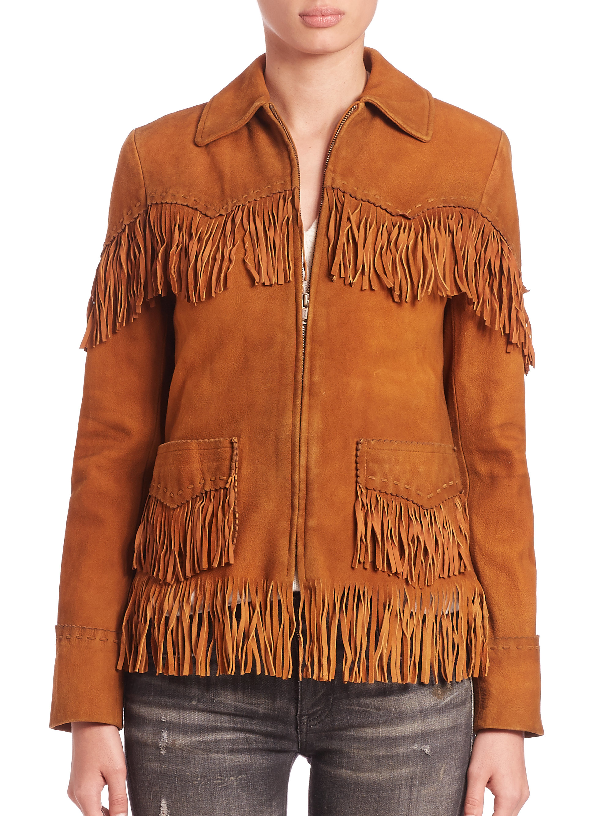 Suede Jacket Outfits For Men 20 Ways To Wear A Suede Jacket: Polo Ralph Lauren Fringed Suede Jacket In Brown