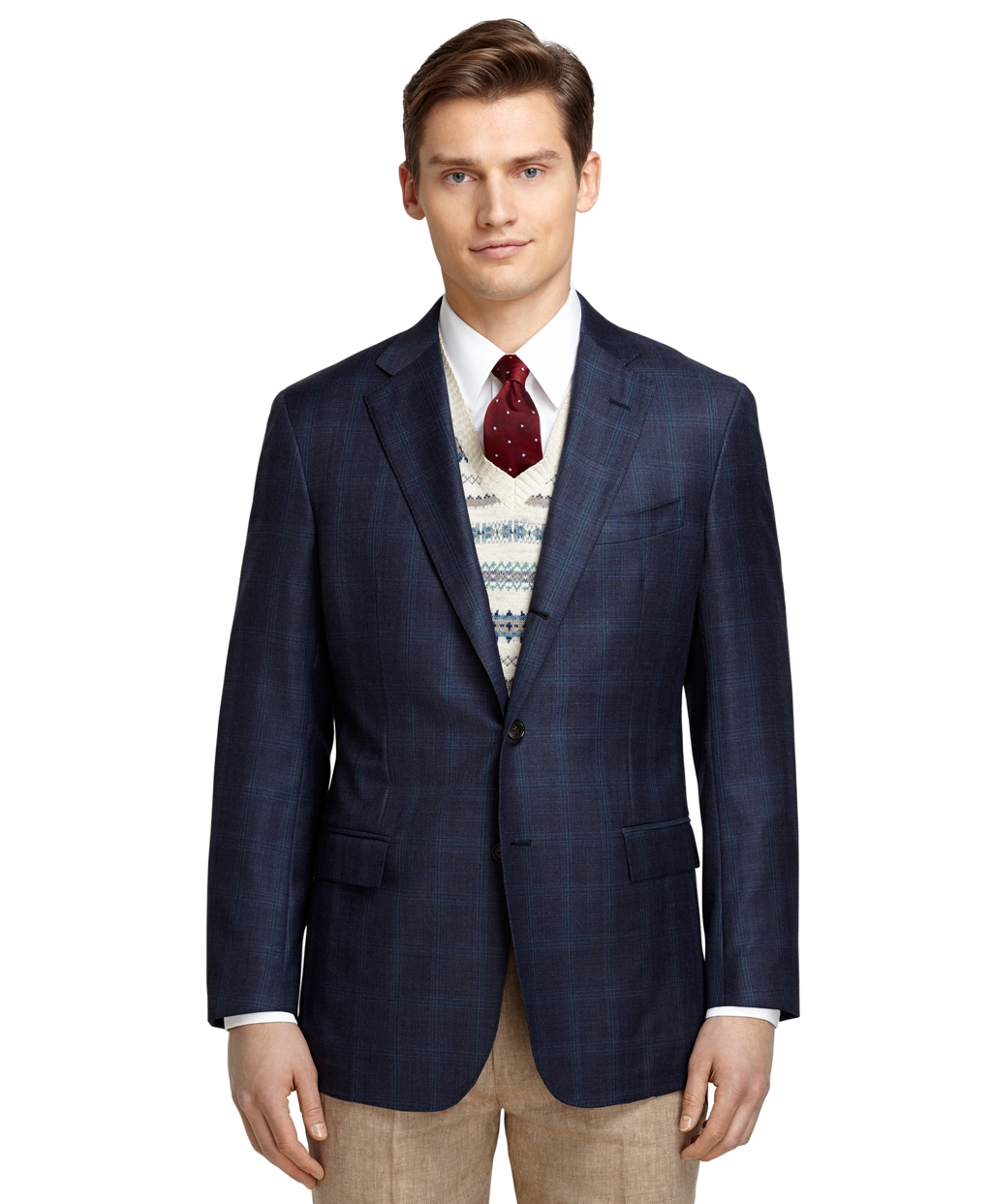 Brooks brothers Regent Fit Navy Plaid With Teal Windowpane Sport ...
