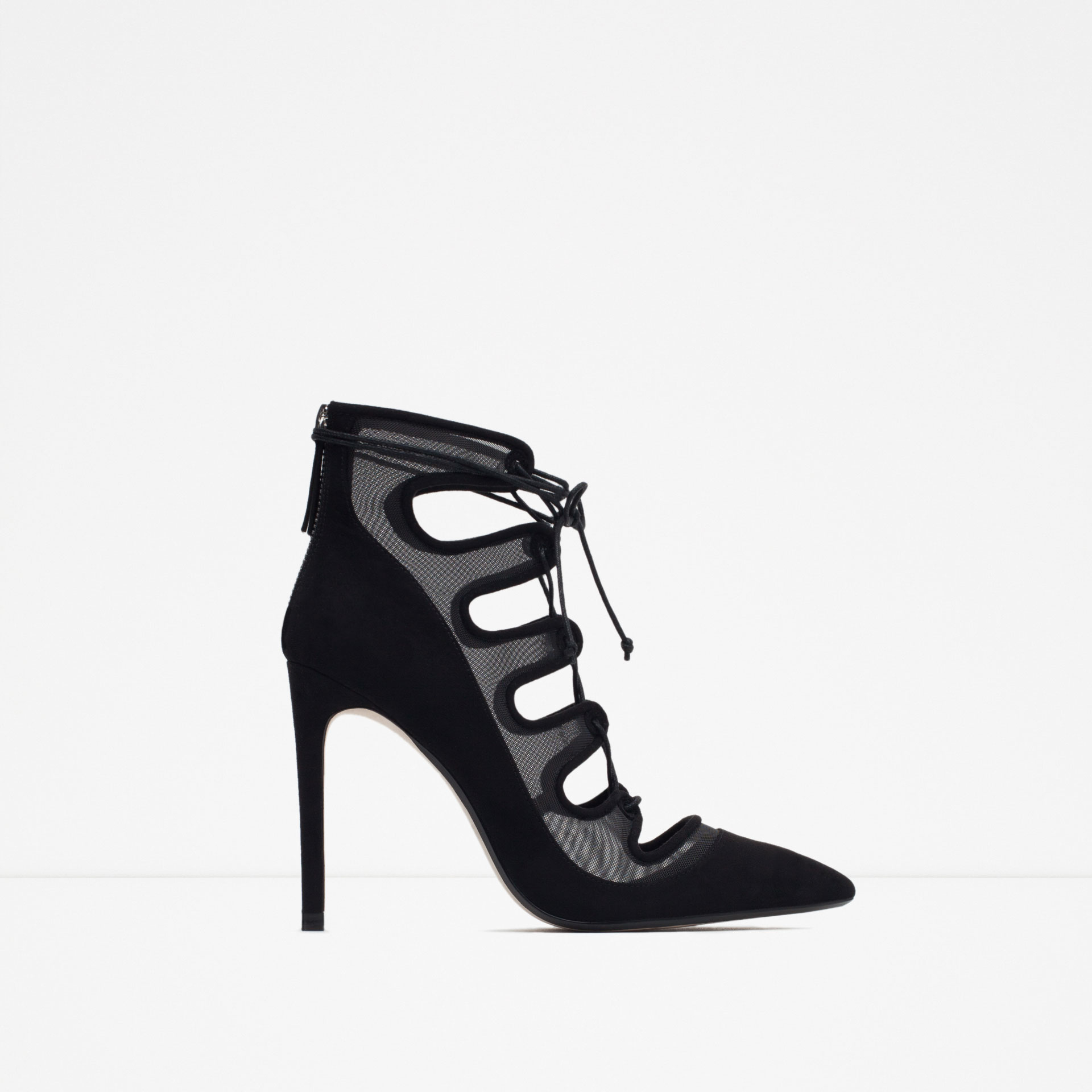 Zara Lace-up Heeled Shoes With Mesh Detail in Black  Lyst