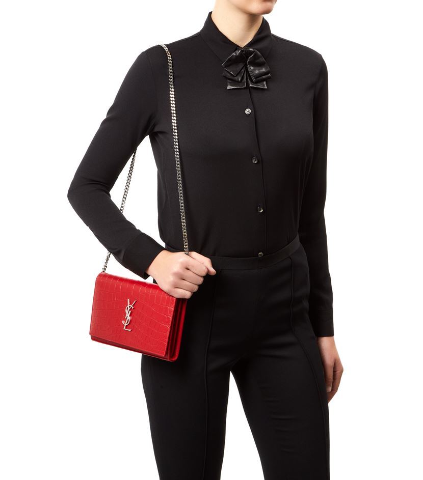 yves saint lauren bag - monogram small croc-stamped shoulder bag, white