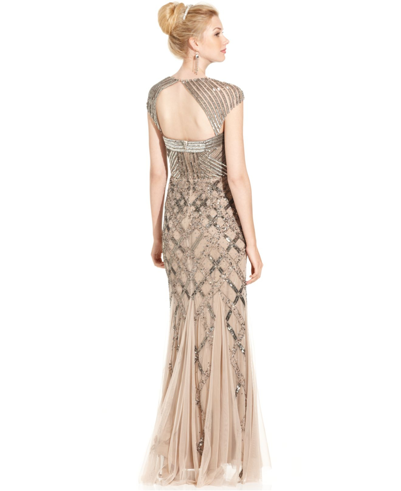 Lyst Adrianna Papell Cap Sleeve Sequined Gown In Natural