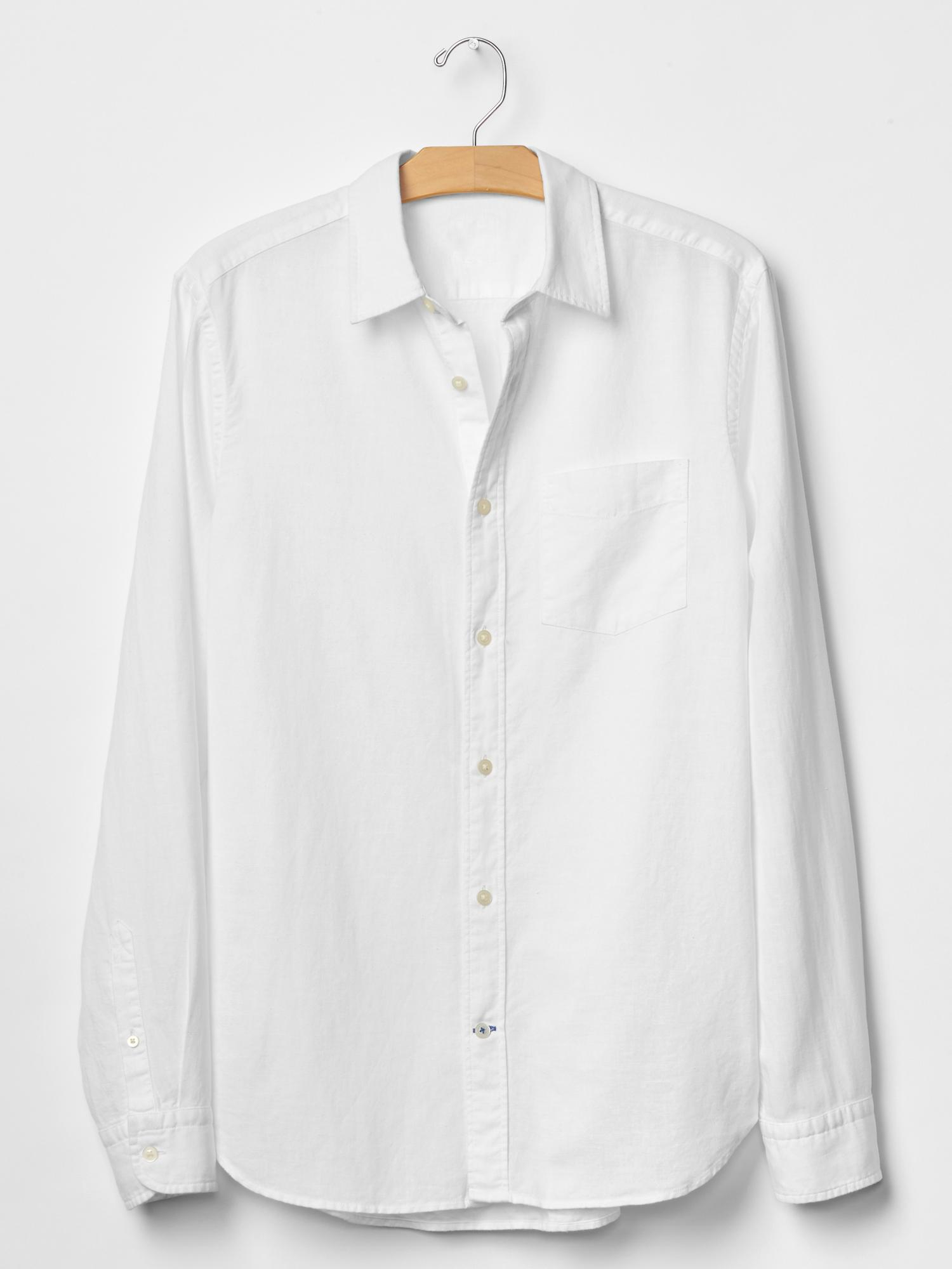 Gap Linen Cotton Solid Shirt In White For Men Optic White