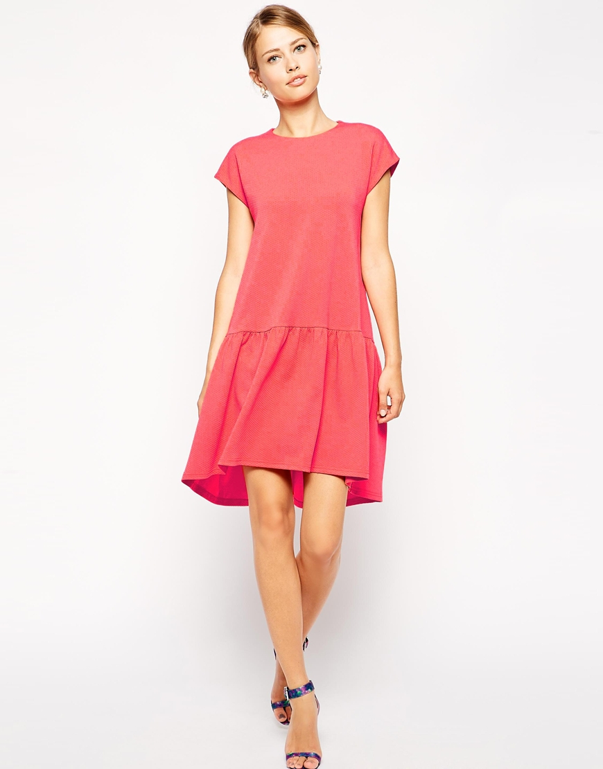 Asos Shift Dress With Dropped Waist In Texture in Orange ...