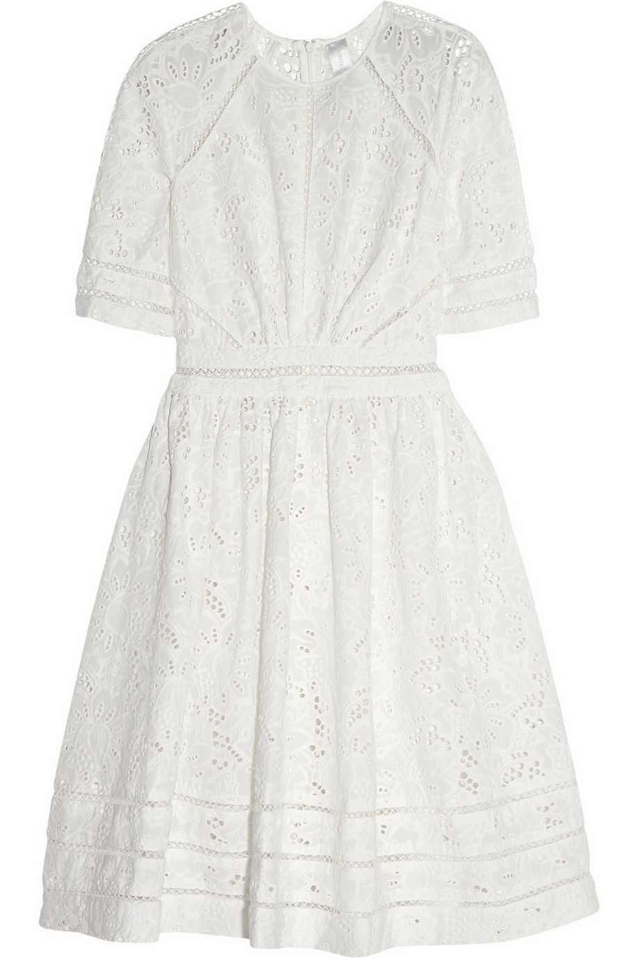 A super special smock dress, Lilou is packed with fun and frills. With a chic high neck, trimmed with a pearl button at the keyhole back, plus a frilled yoke and cropped sleeves, this delicate all-over broderie anglaise lined dress is an easy breezy way to style your summer.