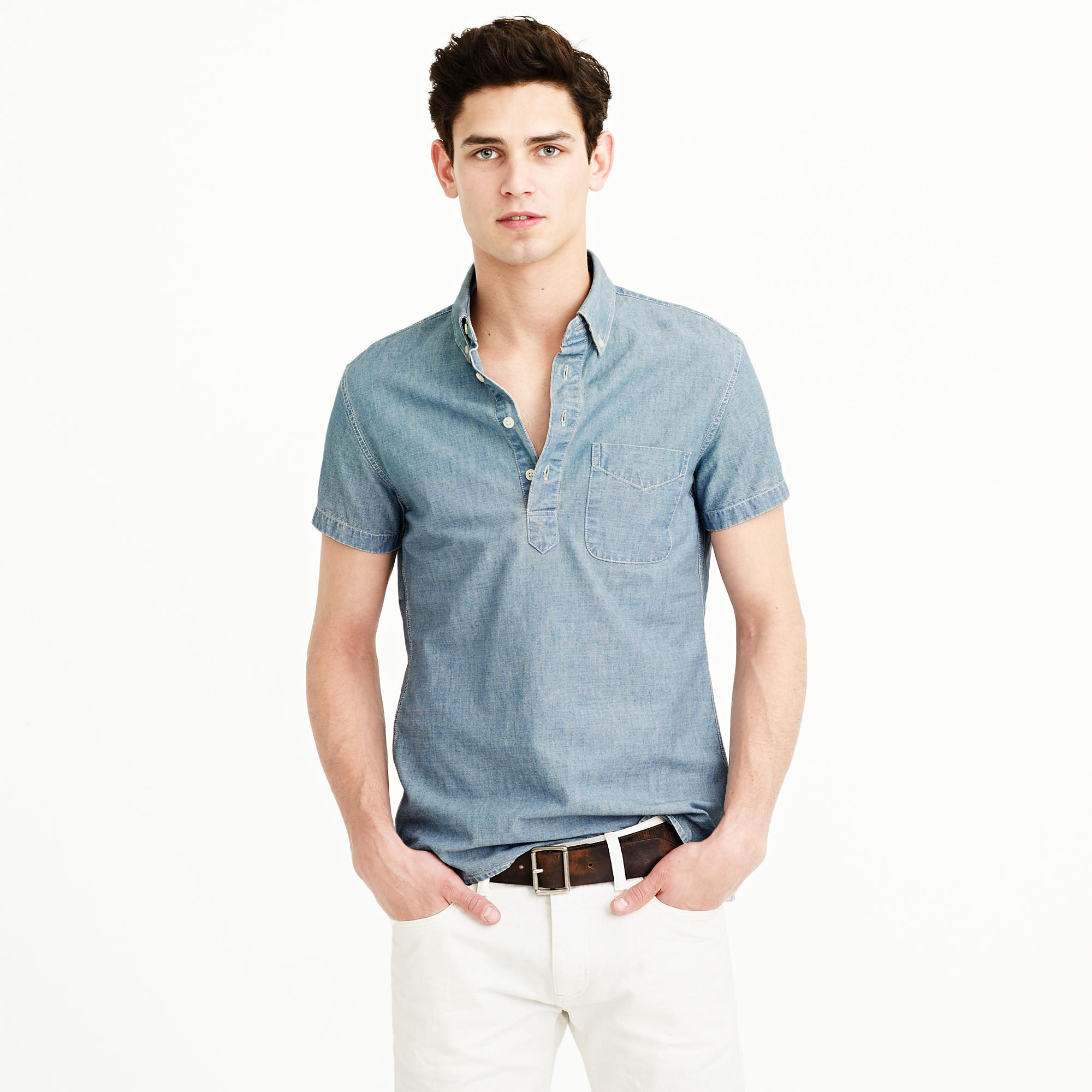 Short sleeve japanese chambray popover shirt in for J crew mens outfits