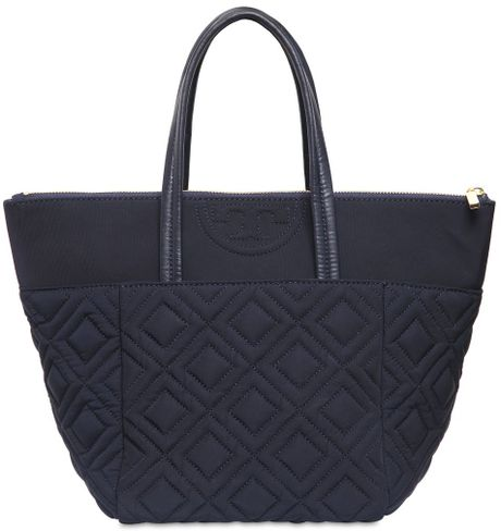 Tory Burch Small Fleming Quilted Nylon Tote Bag In Blue