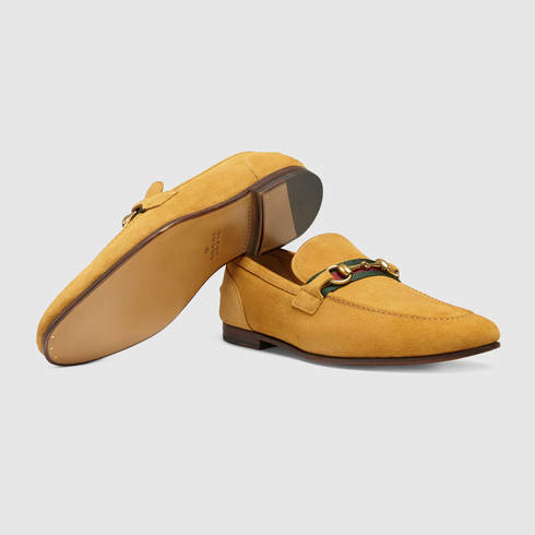 65e3f744a9b Lyst - Gucci Horsebit Suede Loafer With Web in Yellow for Men