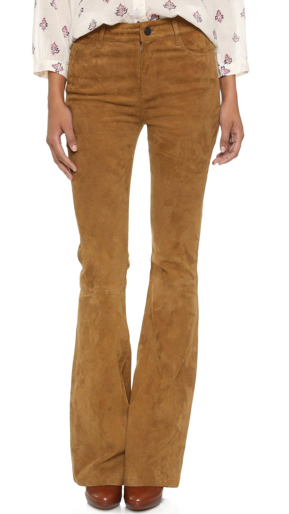 Paige High Rise Suede Bell Canyon Pants in Brown | Lyst | 1128 x 2000 jpeg 882kB