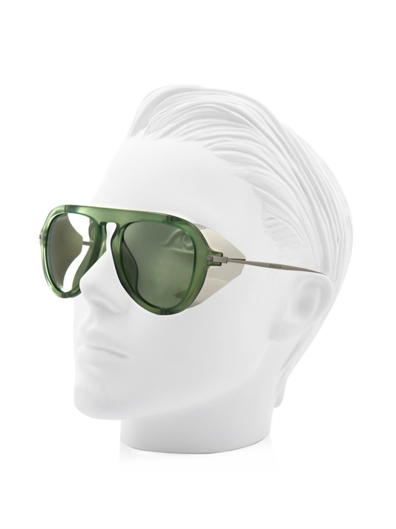 38ccae010 Gucci Metal-Blinker Aviator-Style Sunglasses in Green - Lyst