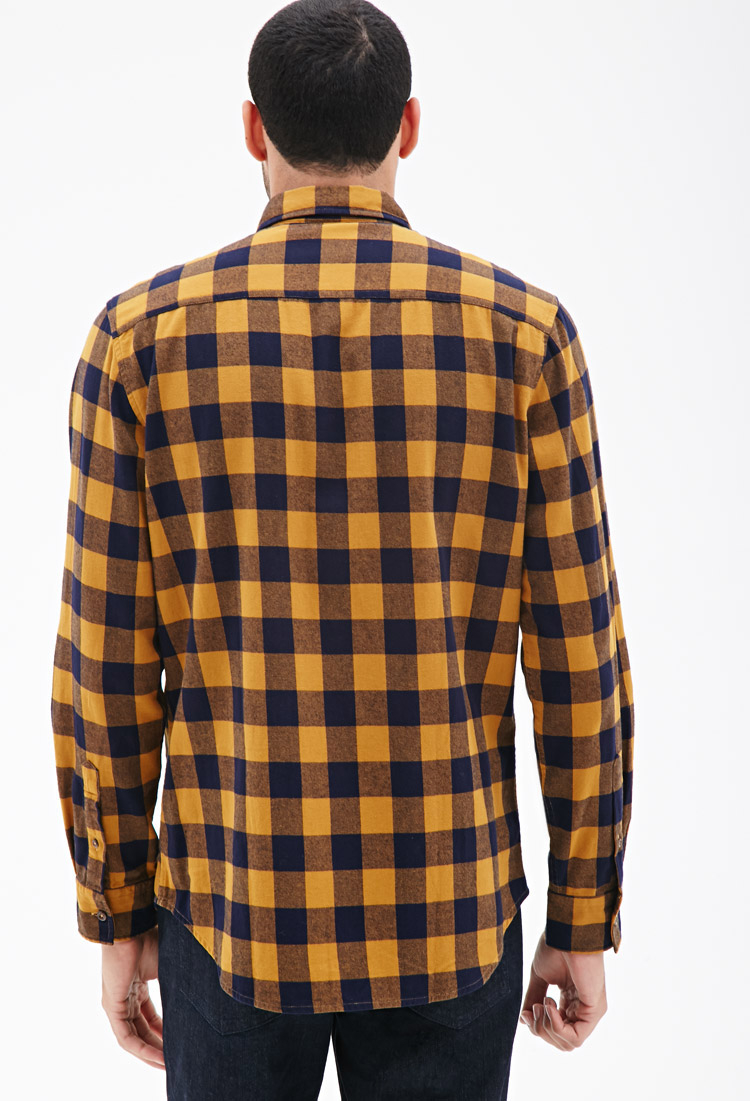 Forever 21 Buffalo Check Flannel Shirt in Yellow for Men | Lyst
