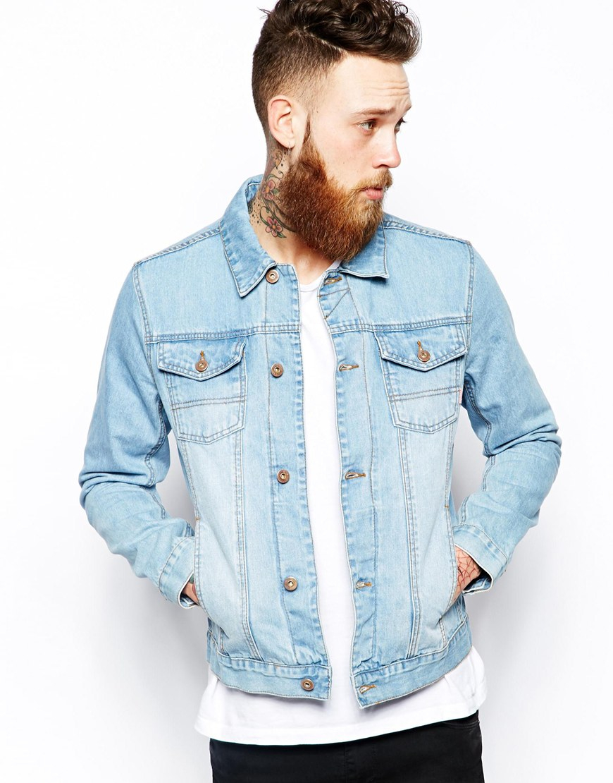 398e34b8889a Lyst - ASOS Denim Jacket with Bleach Wash in Blue for Men
