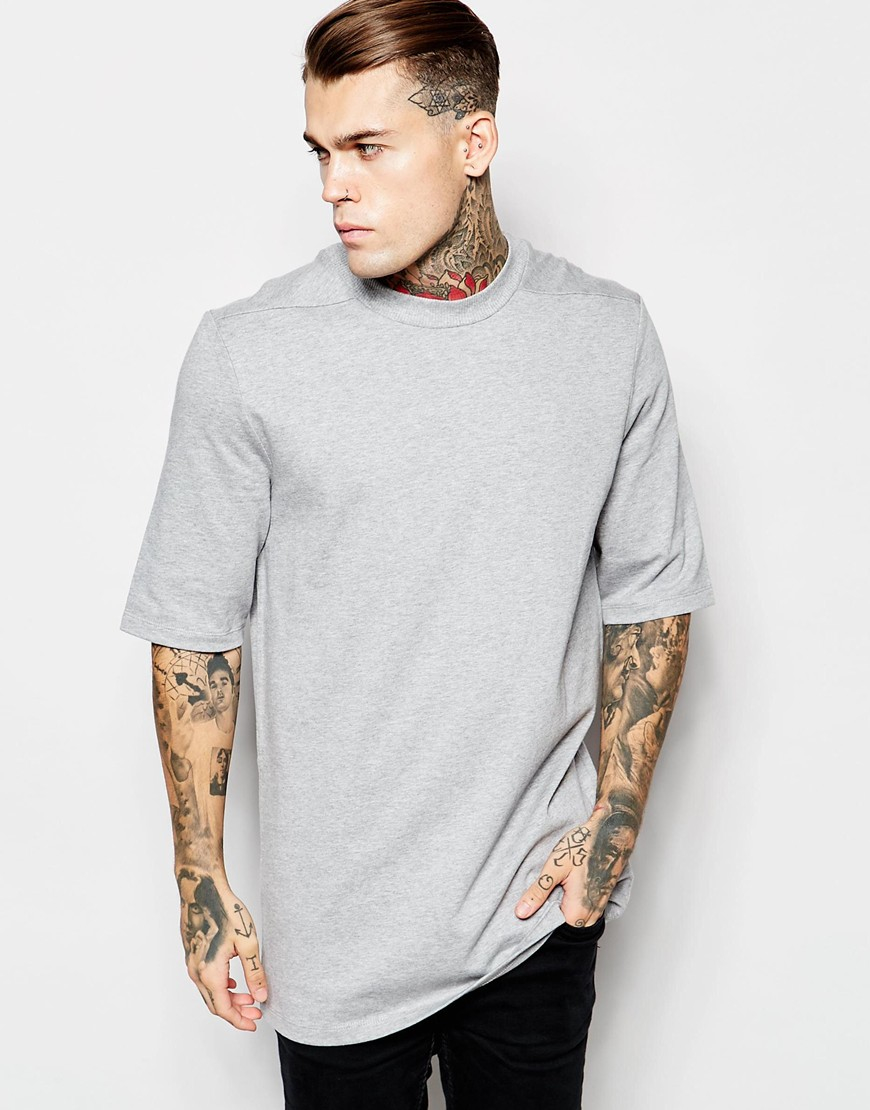 Asos Super Longline T-shirt With Half Sleeve And High Neck With ...